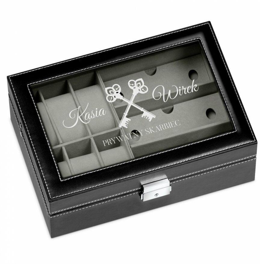 Szkatułka czarna na zegarki i okulary z grawerem dla pary na ślub r