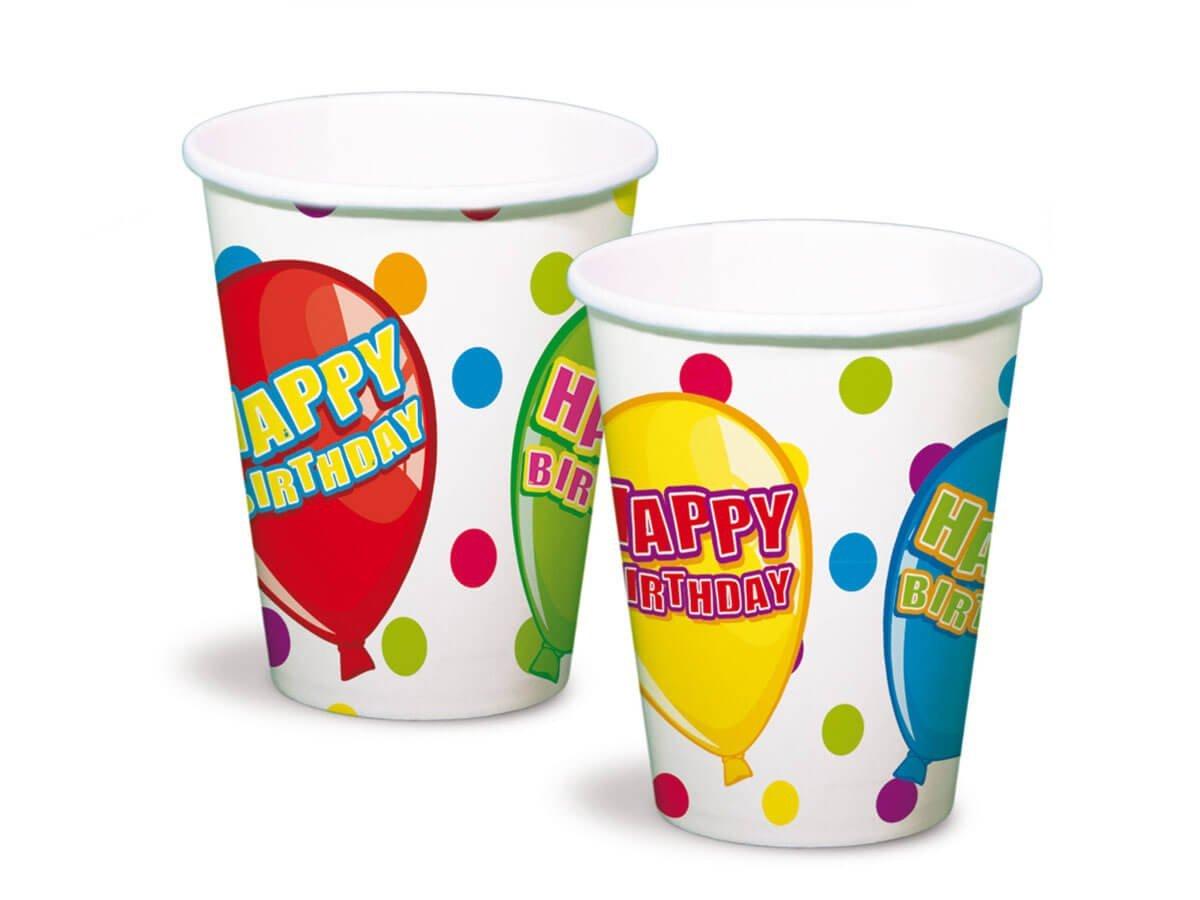 Kubeczki urodzinowe Happy Birthday - 250 ml - 6 szt.