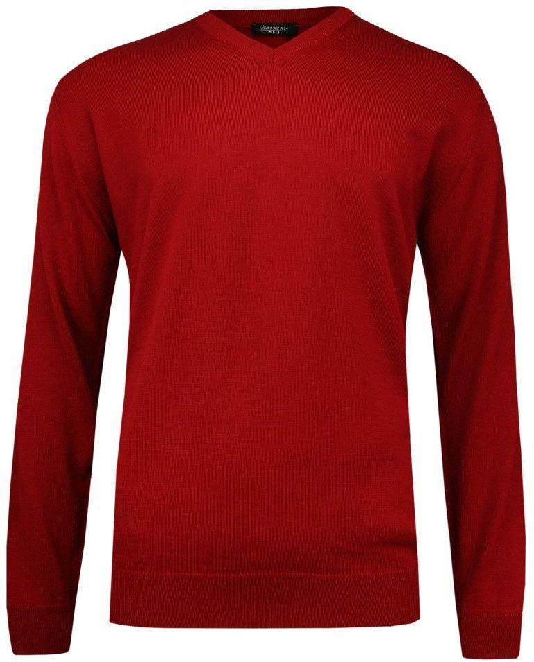 Czerwony Elegancki Sweter w Serek -MM Classic- Męski, (V-neck), Klasyczny SWMMAW19redV