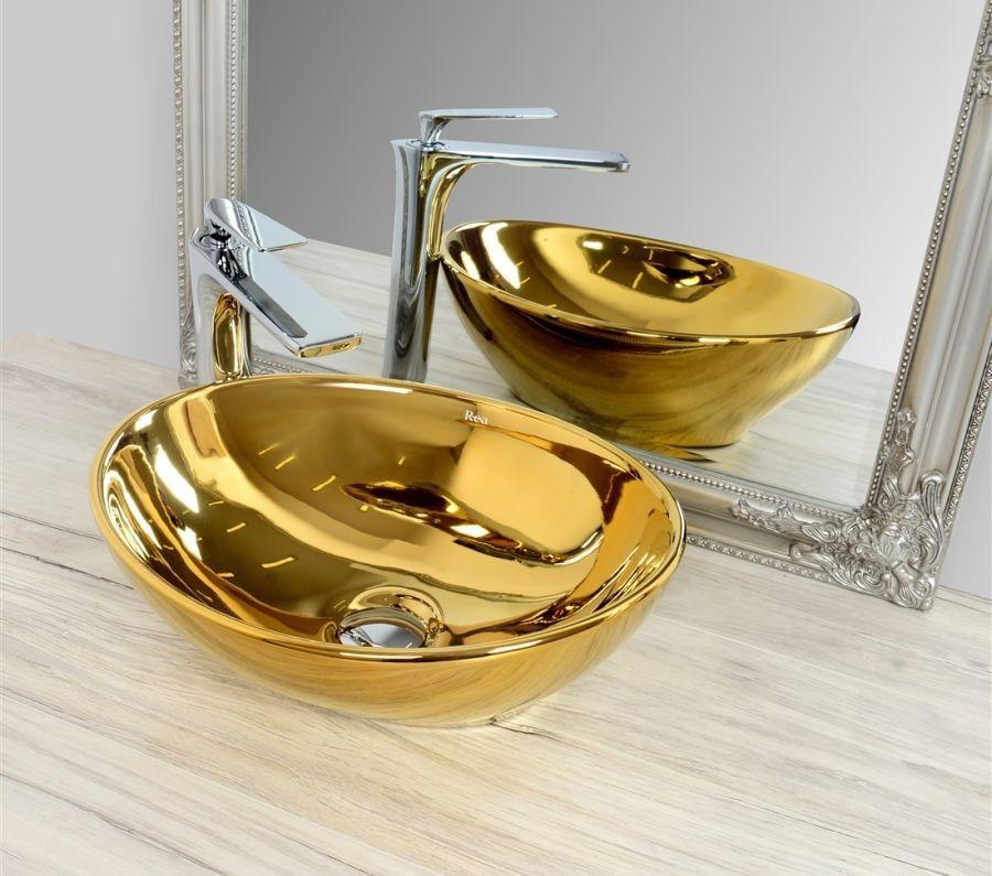 Umywalka nablatowa 40 Sofia Gold/Gold Rea (REA-U9015)
