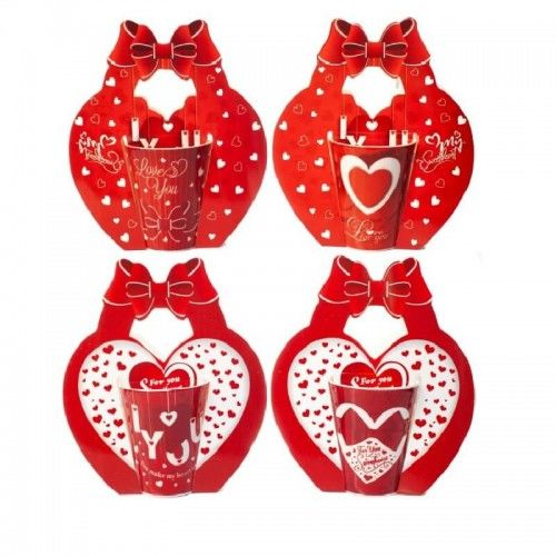 Kubek na Walentynki Love You, w nosidełku, mix wzorów