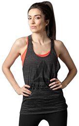 Reebok damska koszulka bez rękawów Allover Heathered Stacked Graphic Tank, Ash Grey/Coal, 2XS