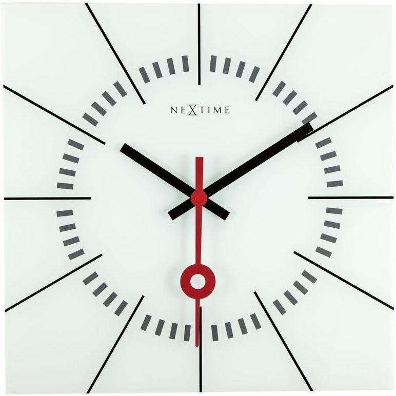 Nextime - zegar ścienny stazione - biały