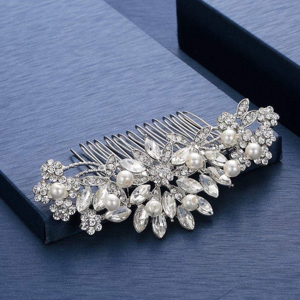 Ozdoba do włosów grzebyk ślubna kwiaty srebrna