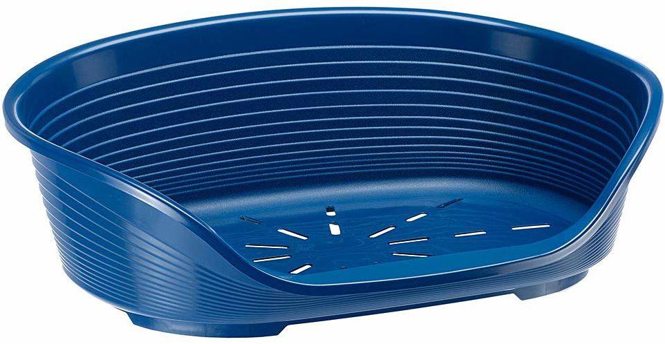 Ferplast plastikowa hodowla dla psów i kotów Siesta Deluxe 6, kosz na zwierzęta, perforowany spód, antypoślizgowy, wygodny uchwyt na podbródek, niebieski, 70,5 x 52 x 23,5 cm