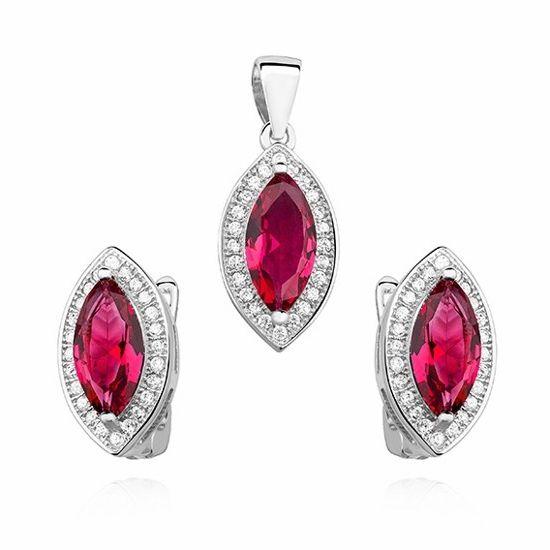 Elegancki rodowany srebrny komplet z rubinowymi cyrkoniami srebro 925 Z0711K_P
