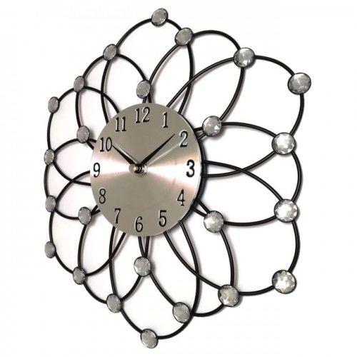 Zegar ścienny w formie kwiatu z kryształkami