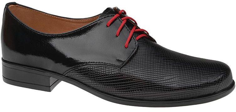 Półbuty buty komunijne wizytowe Lakierki KMK 99 Czarne eleganckie kratka - Czarny