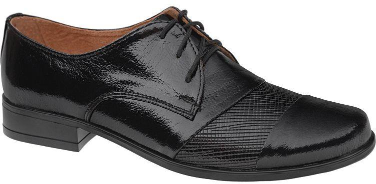 Półbuty buty komunijne wizytowe Lakierki KMK 156 Czarne eleganckie kratka - Czarny