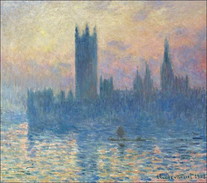 Budynek parlamentu w londynie o zachodzie słońca, claude monet - plakat wymiar do wyboru: 60x40 cm