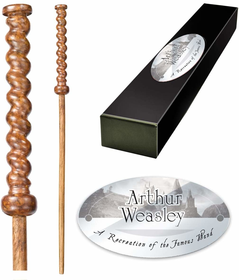 The Noble Collection - Arthur Weasley Character Wand - 16in (40cm) High Quality Wizarding World Wand With Name Tag - Harry Potter Film Set Movie Props Wands