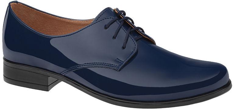 Półbuty buty komunijne wizytowe Lakierki KMK 99 Granatowe eleganckie - Granatowy Niebieski