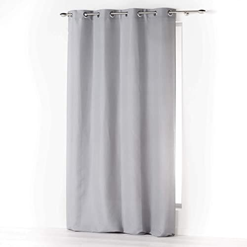 Douceur d''Intérieur Absolu zasłona z mikrofibry z oczkami, jednokolorowa, poliester, szara, 140 x 260 cm