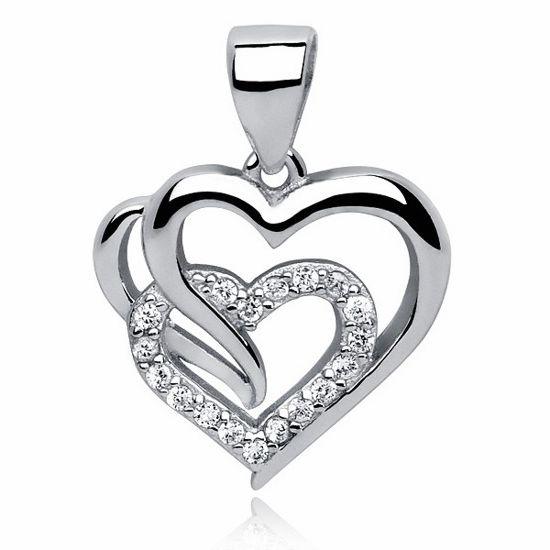 Rodowany srebrny wisiorek serce cyrkonia cyrkonie srebro 925 Z0655