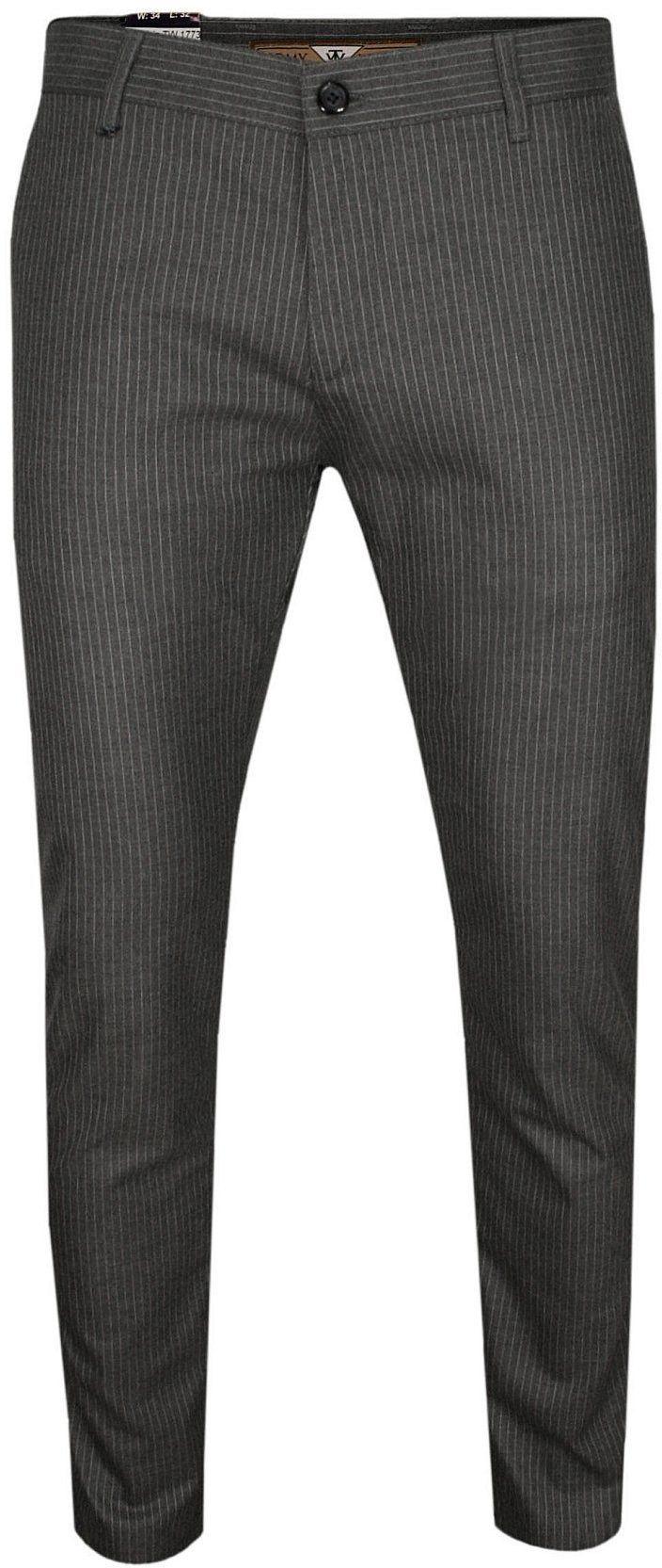 Szare Casualowe Spodnie Męskie, Slim Fit -TOMY WALKER- Zwężane, Chinosy, Tłoczony Wzór, w Paski SPTWKR17736szare