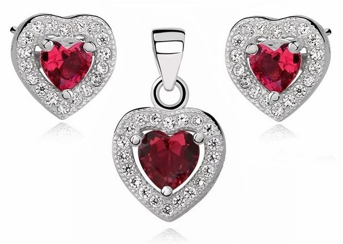 Rodowany srebrny komplet serc z rubinową cyrkonią srebro 925 Z0760C_Z