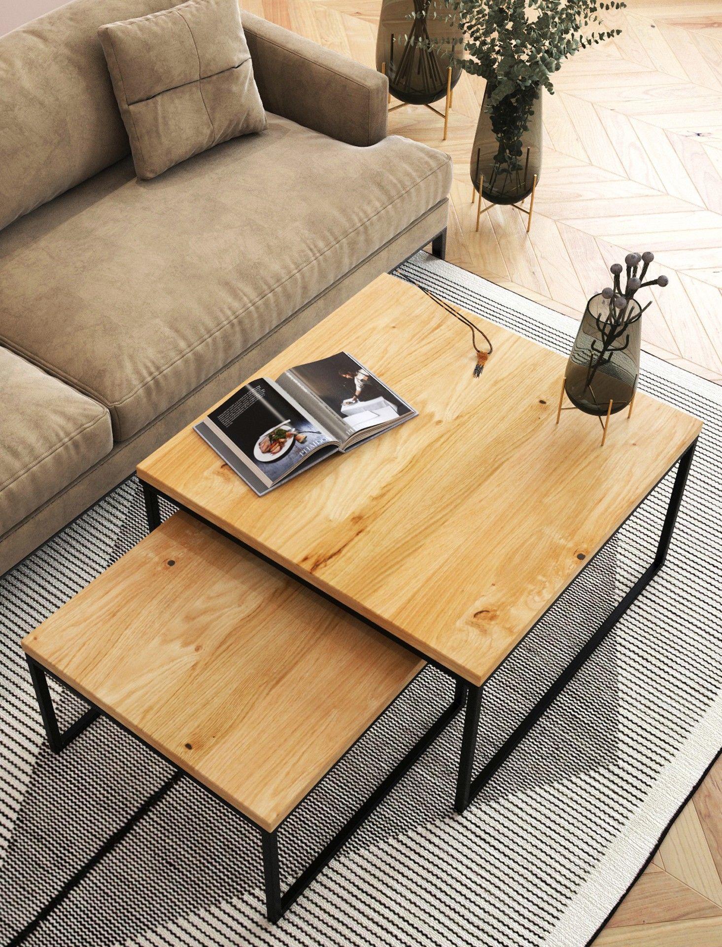 KOMPLET kwadratowych stolików kawowych dębowych Ław06 50+ 60 70+ 80 90+ 100