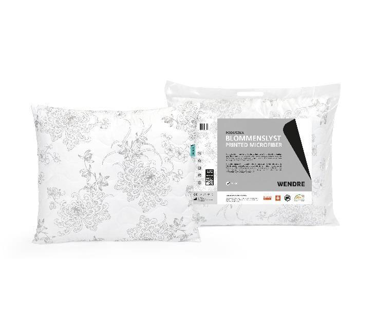 Poduszka Blommenslyst 50x60 Mikrofibra Biała wzór kwiatowy Wendre