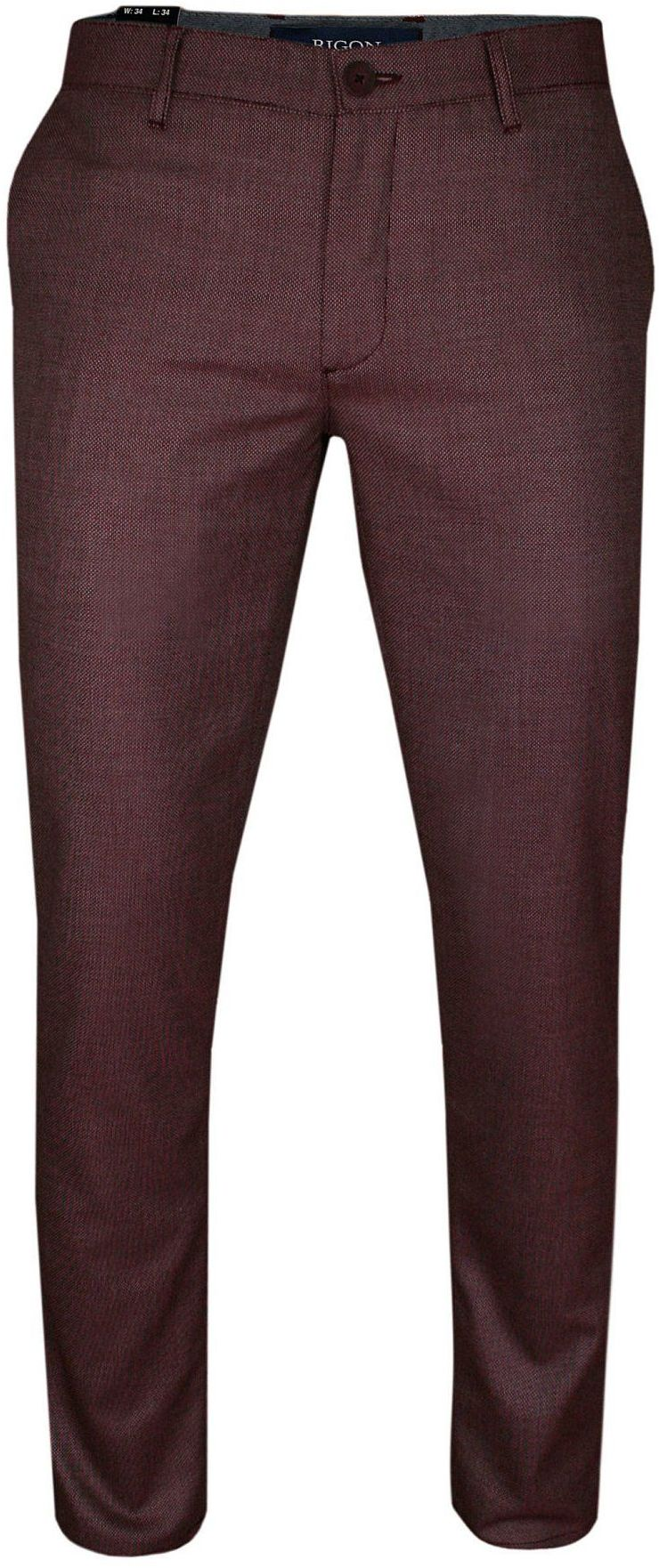 Bawełniane Bordowe Eleganckie Casualowe Spodnie Męskie -RIGON- Zwężane, Chinosy, Tłoczony Wzór SPRGNEGE26757bordo