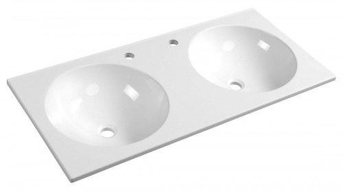 Umywalka kompozytowa 100x15x47cm podwieszana podwójna, biała