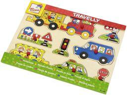 Bino 88060 Inset Ruffic, Kolorowy, 9 drewnianych klamerek puzzle edukacyjna zabawka do nauki i zabawy. Rozmiar około 30 x 1,5 x 22,5 cm, wielokolorowa