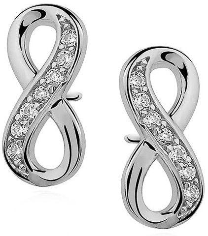 Delikatne rodowane srebrne kolczyki celebrytka nieskończoność infinity z cyrkoniami srebro 925 Z0791E