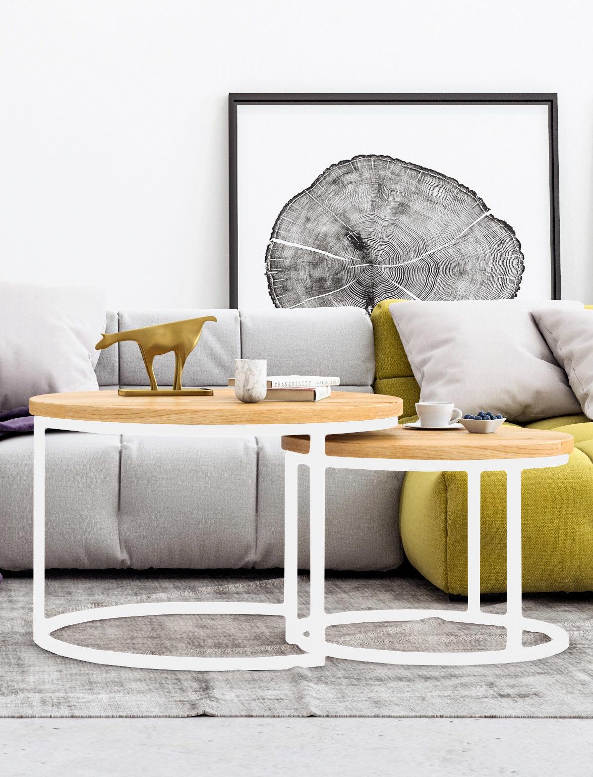 KOMPLET okrągłych stolików kawowych dębowych Ław03 Ø58+Ø75