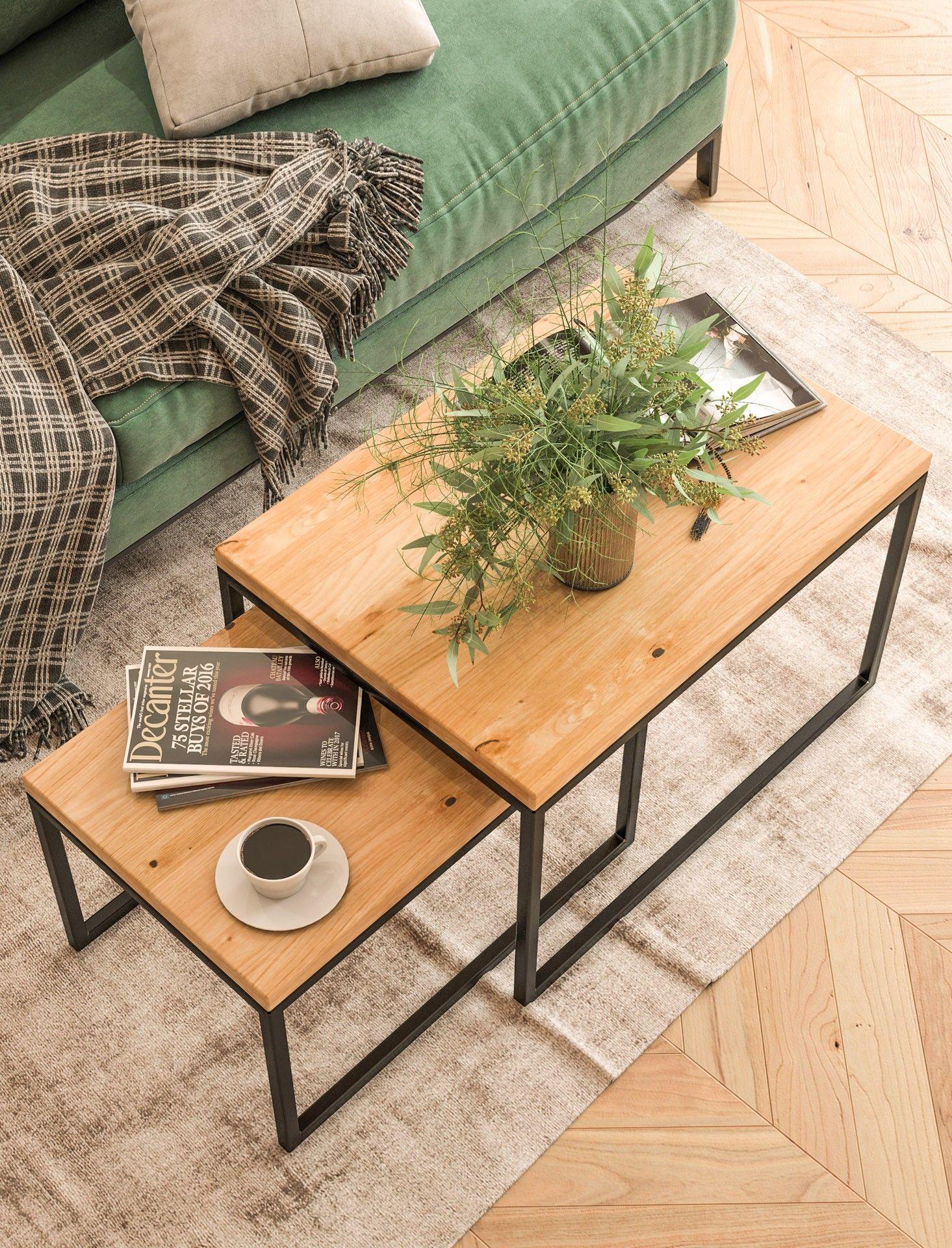 KOMPLET prostokątnych stolików kawowych dębowych Ław09 60+ 70 80+ 90 100+ 120