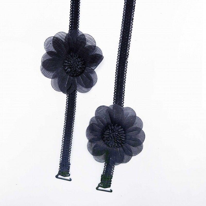 Ozdobne ramiączka do biustonosza czarne kwiaty BS000951