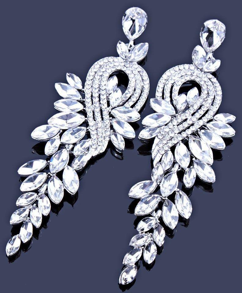 Kolczyki srebrne wiszące kryształki ślubne długie