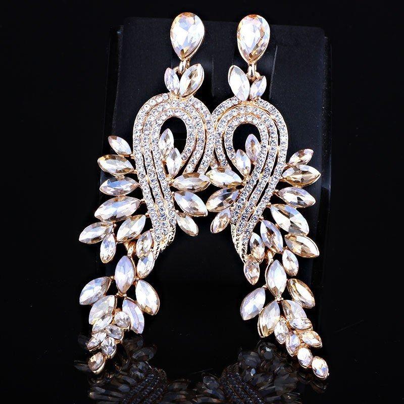 Kolczyki złote wiszące kryształki ślubne długie