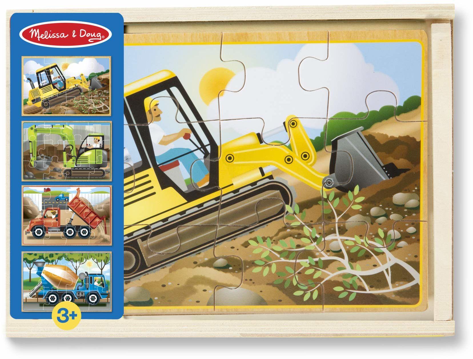 Melissa & Doug Puzzle budowlane w pudełku Puzzle Drewniana zabawka 3+ Prezent dla chłopców lub dziewcząt