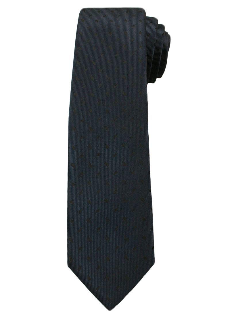 Krawat Męski w Czarny Wzorek, Błyszczący - 6 cm - Angelo di Monti, Ciemnogranatowy KRADM1361