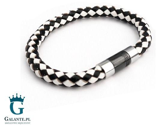 Skórzana bransoletka pleciona biało-czarna t856