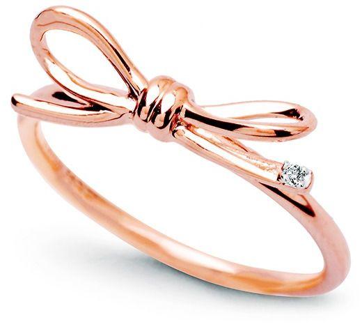 Staviori pierścionek kokardka z różowego złota 0,585 i diament, szlif brylantowy