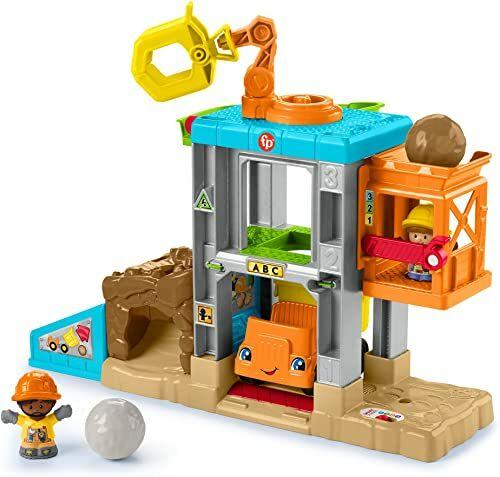 Fisher-Price HCJ64 - Little People zestaw do zabawy na placu budowy z dźwiękami, muzyką i wywrotką, od 1 do 5 roku życia.