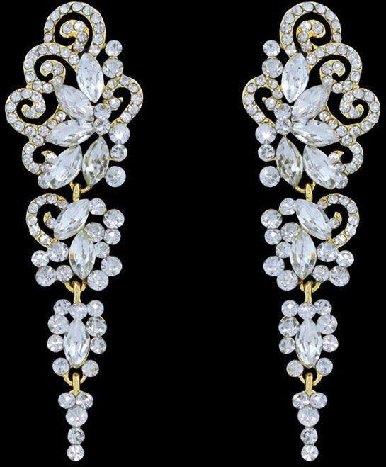 Kolczyki złote cyrkonie wiszące ślubne długie