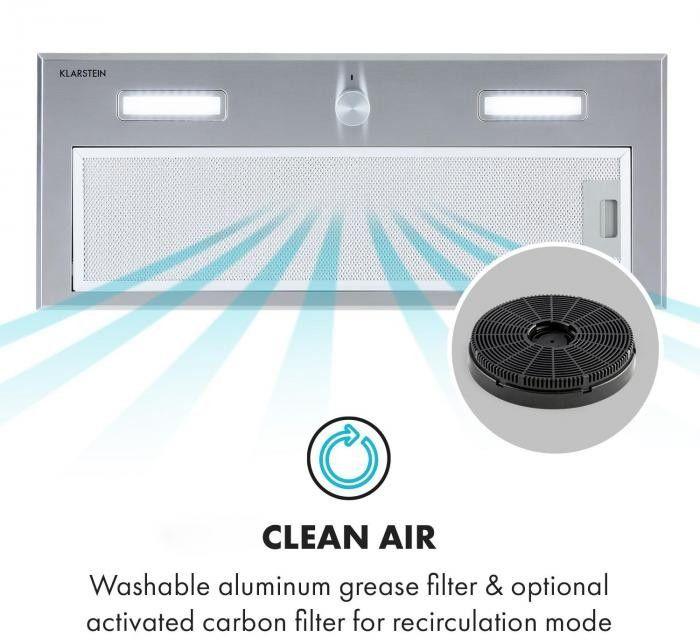 Klarstein Simplica, okap kuchenny do zabudowy, 70 cm, wydajność wyciągu powietrza: 400 m3/h, LED, stal szlachetna