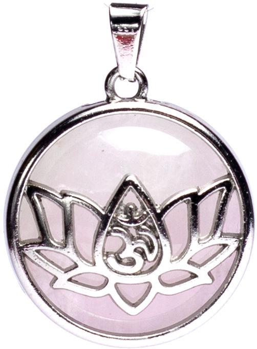 Znak OM w lotosie - kwarc różowy okrągły (wisior w oprawie)