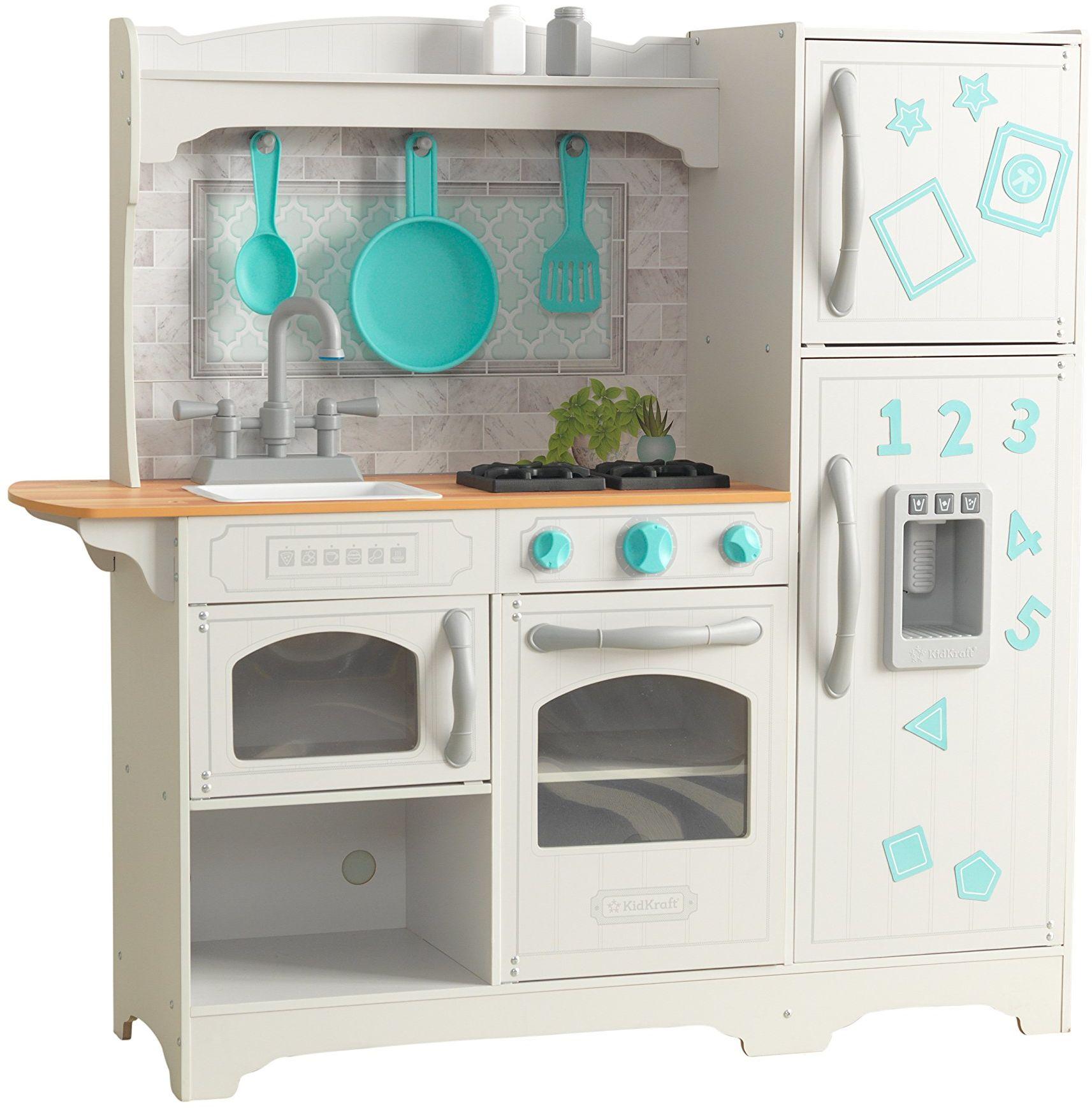 KidKraft 53424 Wieś zabawa kuchnia zabawa drewniana udawaj zabawka kuchnia dla dzieci z lodem i akcesoriami do odgrywania ról w zestawie, zespół EZ Kraft