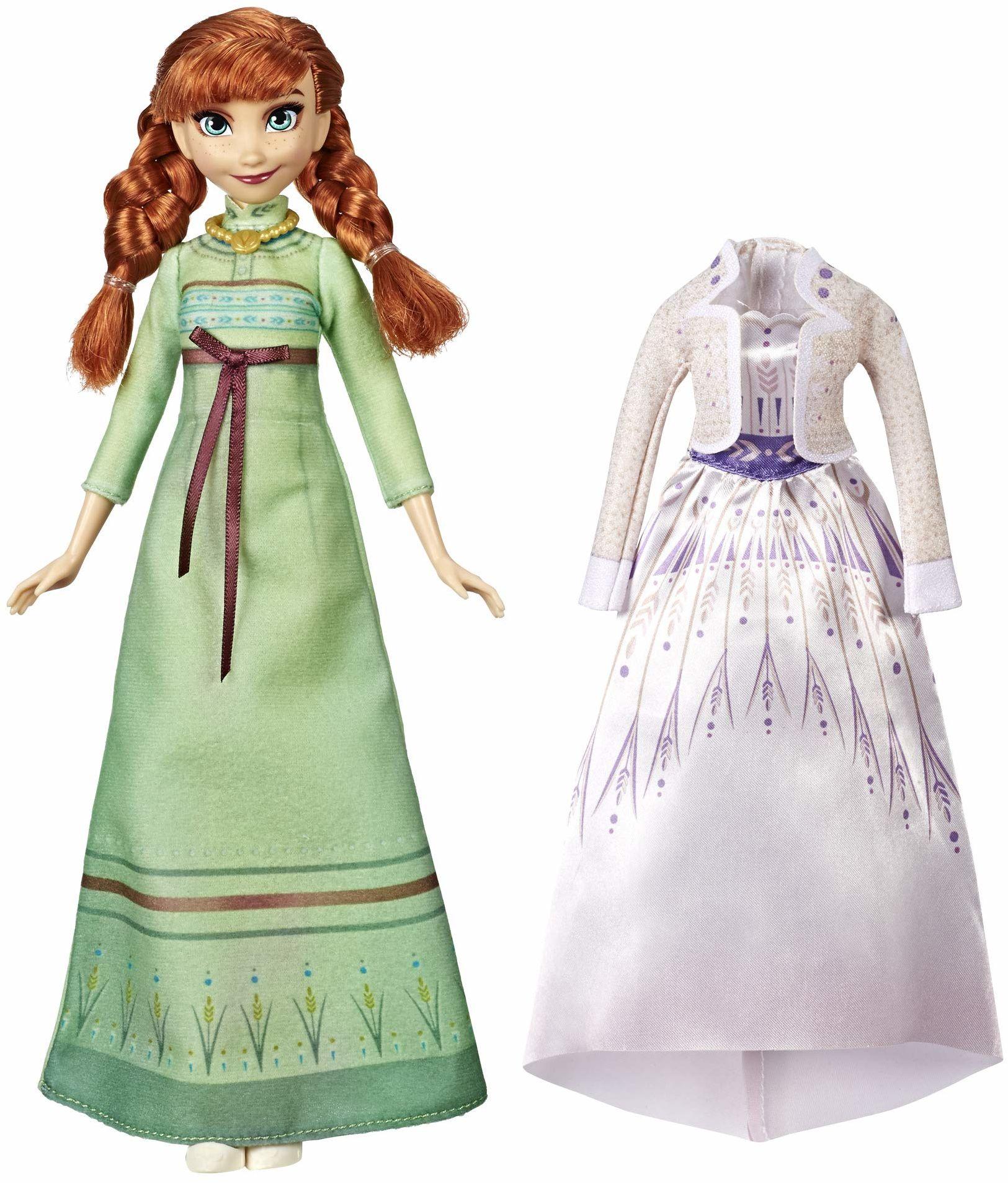 Disney Lodówka modowa ''Lodówka Anna'' z 2 strojami, zielona koszula nocna i biała sukienka inspirowana filmem Disney''s Frozen 2 - zabawka dla dzieci w wieku od 3 lat