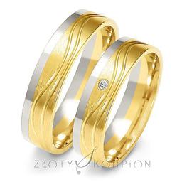 Obrączki ślubne dwukolorowe Złoty Skorpion  wzór Au-A223
