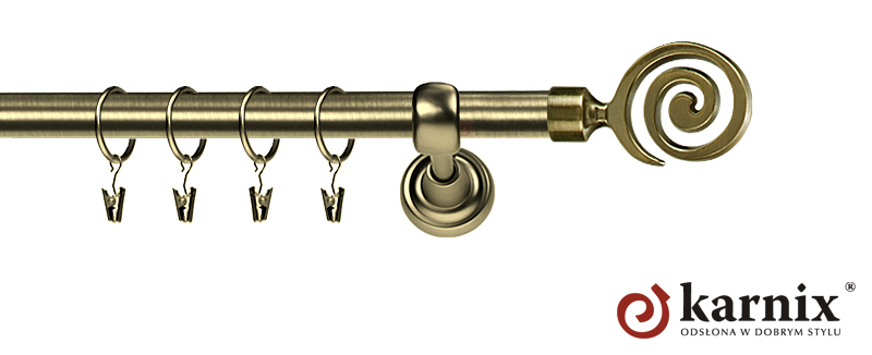 Karnisze Metalowe Rzymskie pojedynczy 19mm Cento antyk mosiądz