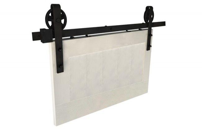 Zestaw okuć do drzwi przesuwnych Design Line IZYDA, kolor czarny (prowadnica L-2000 mm, drzwi 850-1050 mm / 35-45 mm)
