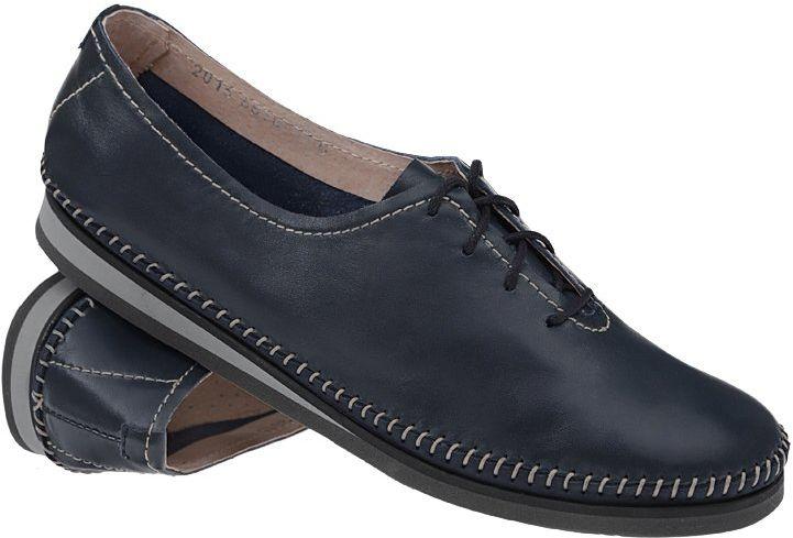 Mokasyny sznurowane buty SIMEN 6870 Granatowe - Granatowy