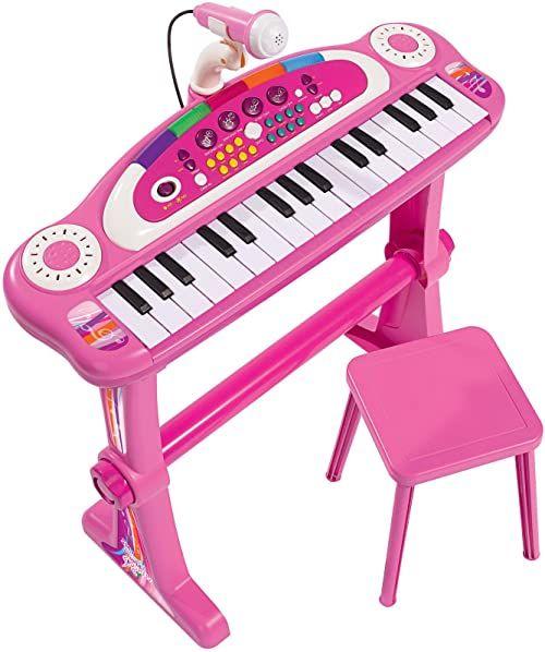 Simba 106830690 - My Music World Standkeyboard / 31 przycisków / ze światłem i dźwiękiem / 55 cm / różowy