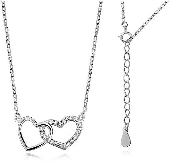 Rodowany srebrny naszyjnik serce serduszko cyrkonia cyrkonie celebrytka srebro 925 Z0773N