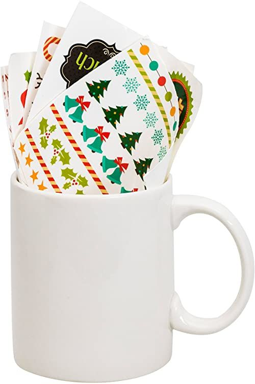 """Thumbs Up MYXMASMUG filiżanka """"Make a Christmas"""", łącznie z naklejkami, ceramika, biała, 12 x 9,5 x 8 cm"""