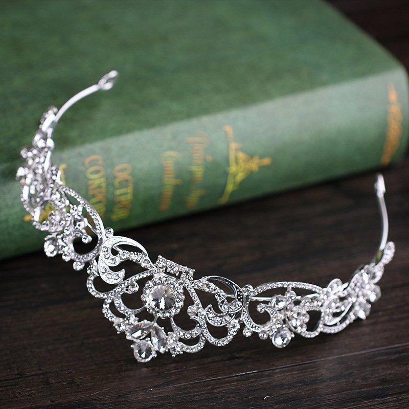 Ozdoba do włosów korona diadem ślubna srebrna