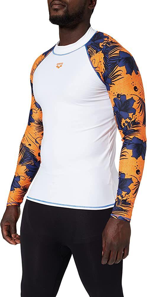 ARENA Arena męska koszulka z długim rękawem Rash Allover White-Floreale Multi m